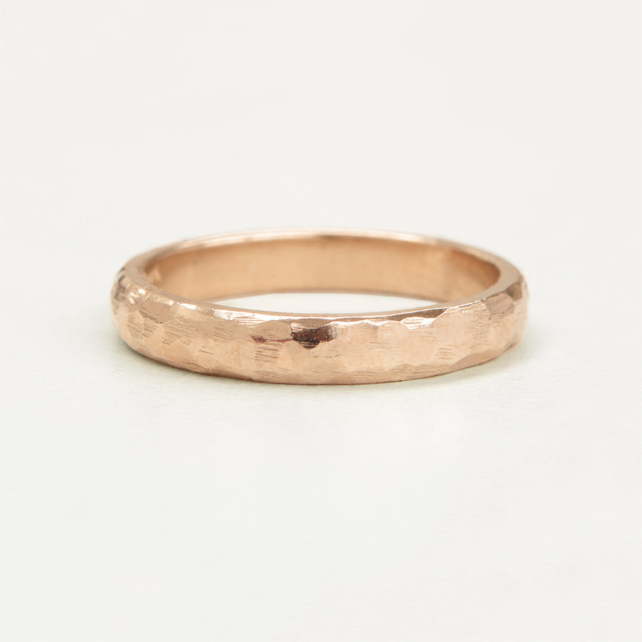 Hammered Half Round Band 3MM - Rose Gold