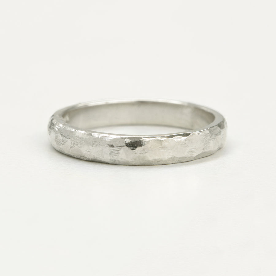 Hammered Half Round Band 3MM - White Gold