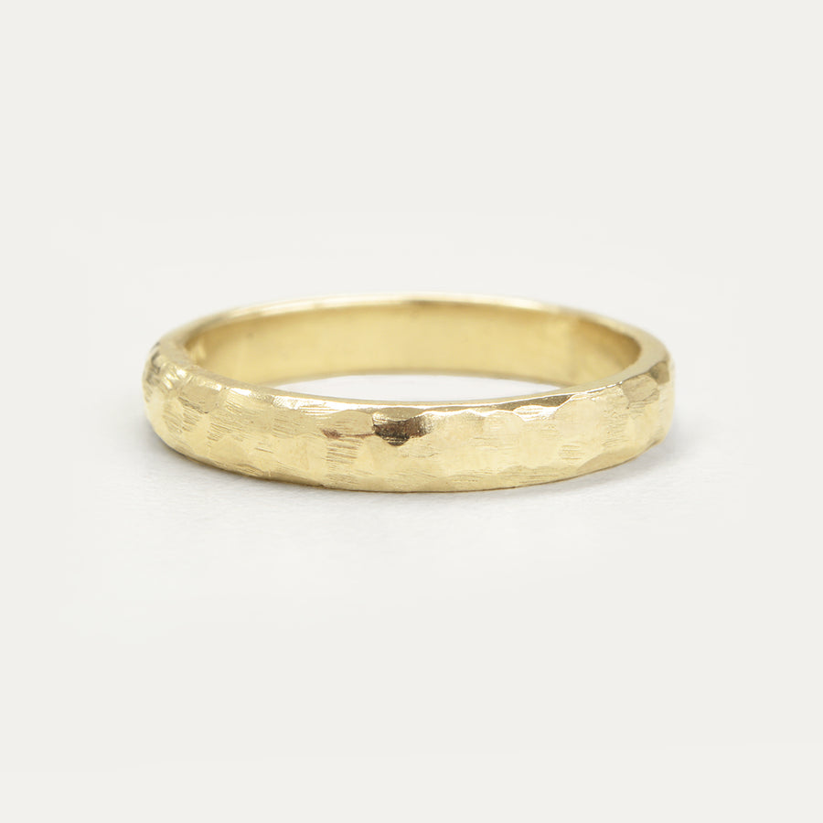 Hammered Half Round Band 3MM - Yellow Gold