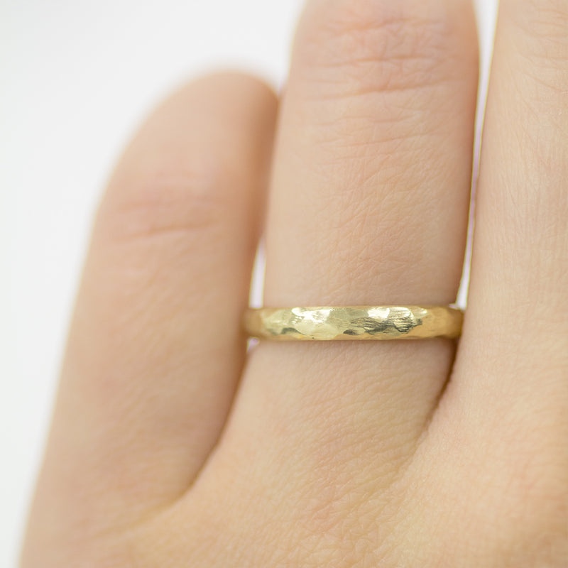 Hammered Half Round Band 3MM - Yellow Gold Rings - A Gilded Leaf jewelry