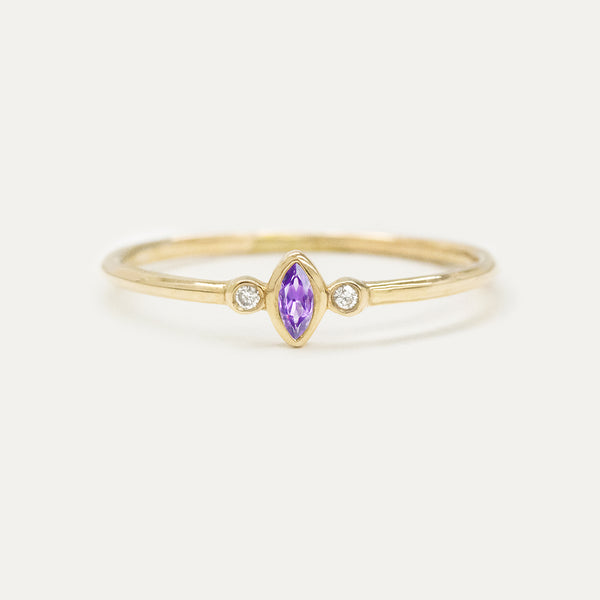 "Amethyst ""Grape"" Marquise Diamond Ring Rings - A Gilded Leaf jewelry"