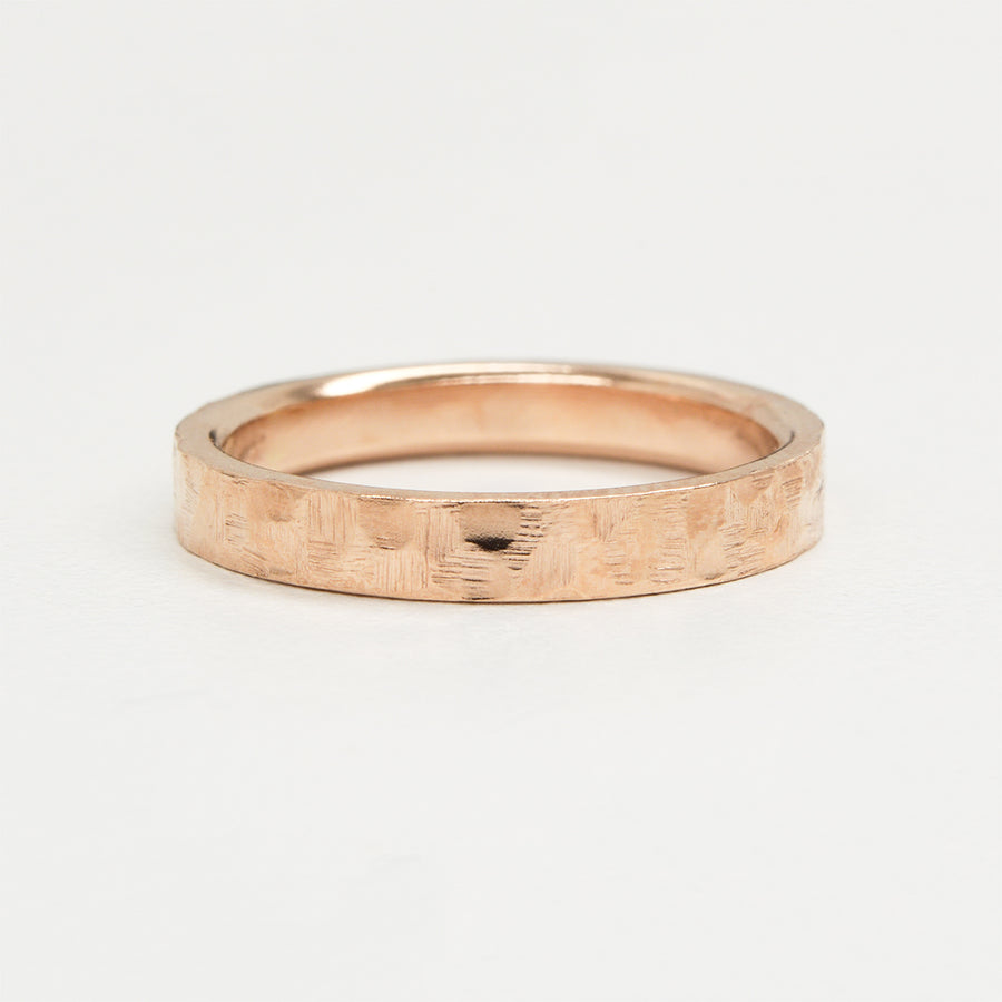 Flat Hammered Ring 4MM - Rose Gold