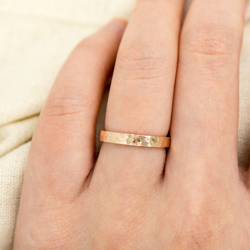 Flat Hammered Ring 4MM - Rose Gold Rings - A Gilded Leaf jewelry