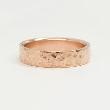 Flat Hammered Ring 6MM - Rose Gold Rings - A Gilded Leaf jewelry