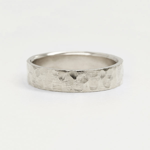 Flat Hammered Ring 6MM - White Gold Rings - A Gilded Leaf jewelry