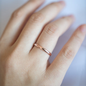 Classic Gold Rounded Band 2MM - Rose Gold