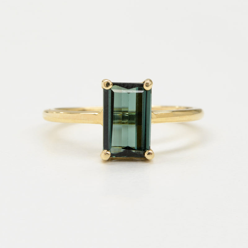 Máire Ring in 14K Yellow Gold with 1.44CT Emerald Cut Forest Green Tourmaline One of a Kind - A Gilded Leaf jewelry