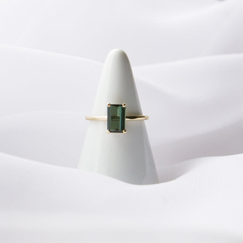 Máire Ring in 14K Yellow Gold with 1.44CT Emerald Cut Forest Green Tourmaline