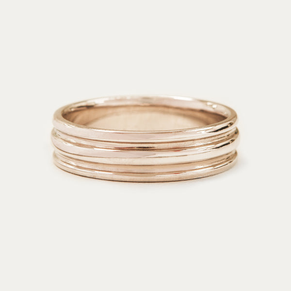 Double Grooved Band 6MM - Rose Gold Rings - A Gilded Leaf jewelry
