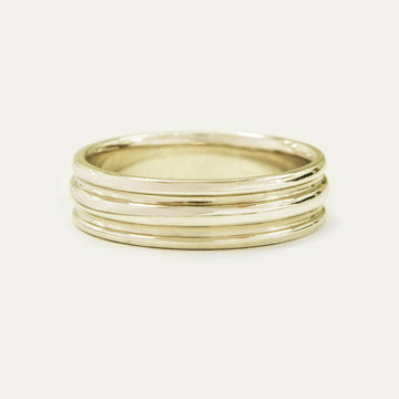 Double Grooved Band 6MM - Yellow Gold Rings - A Gilded Leaf jewelry