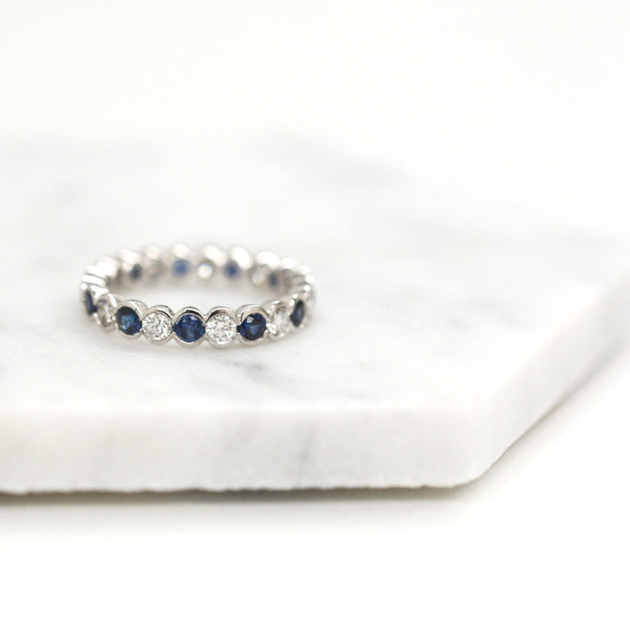 Diamond Sapphire Eternity Band Rings - A Gilded Leaf jewelry