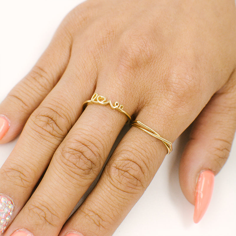 Gold Love Ring Rings - A Gilded Leaf jewelry