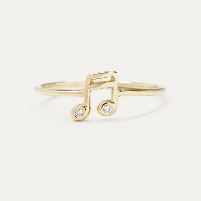 Single Sixteenth Note Diamond Ring Rings - A Gilded Leaf jewelry