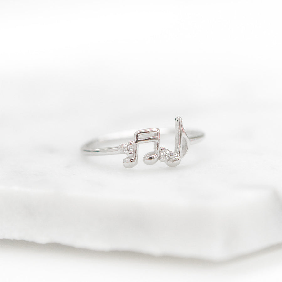Double Musical Note Diamond Ring