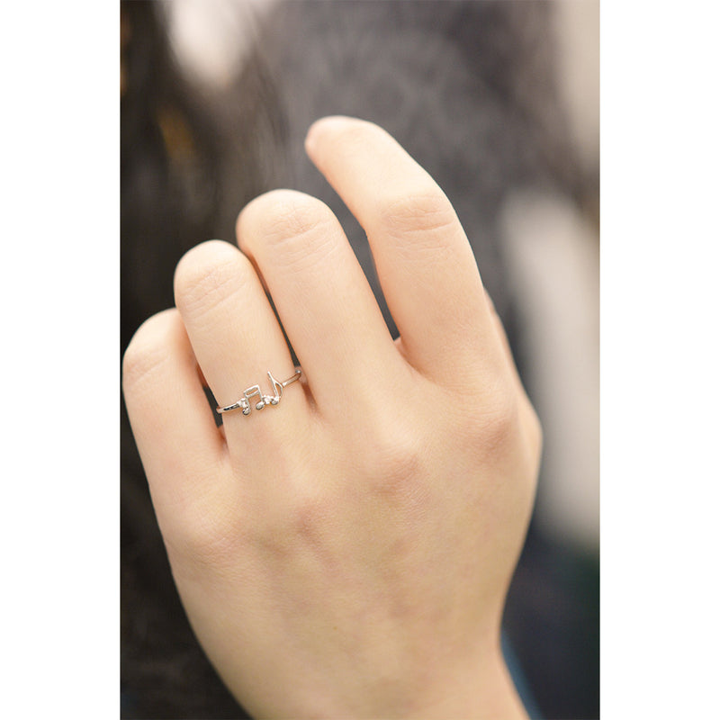 Double Musical Note Diamond Ring Rings - A Gilded Leaf jewelry