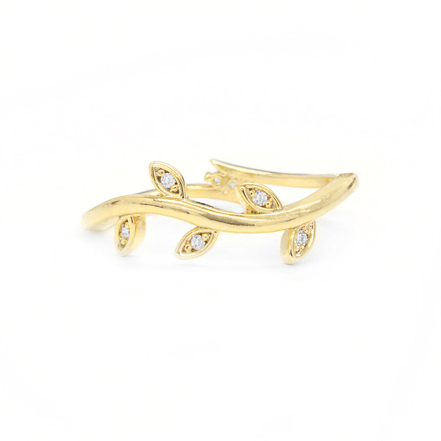 Autumn Wavy Diamond Leaf Ring