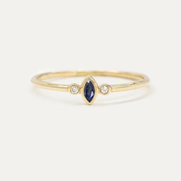 "Sapphire ""Blueberry"" Marquise Diamond Ring Rings - A Gilded Leaf jewelry"