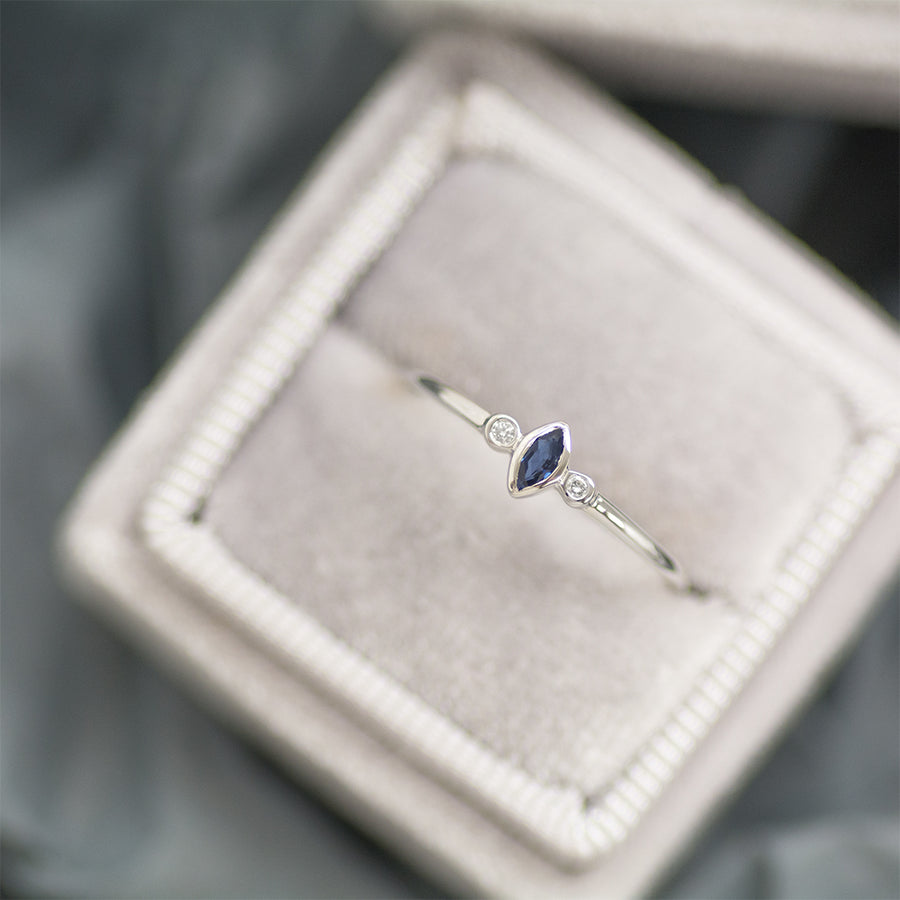 "Sapphire ""Blueberry"" Marquise Diamond Ring"
