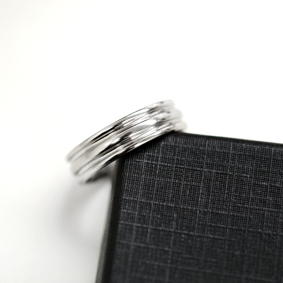 Double Grooved Band 6MM - White Gold Rings - A Gilded Leaf jewelry