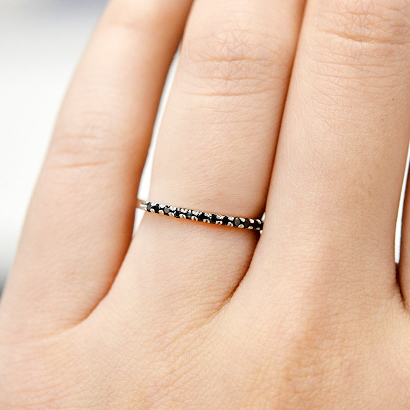 Black Diamond Stacking Ring Rings - A Gilded Leaf jewelry