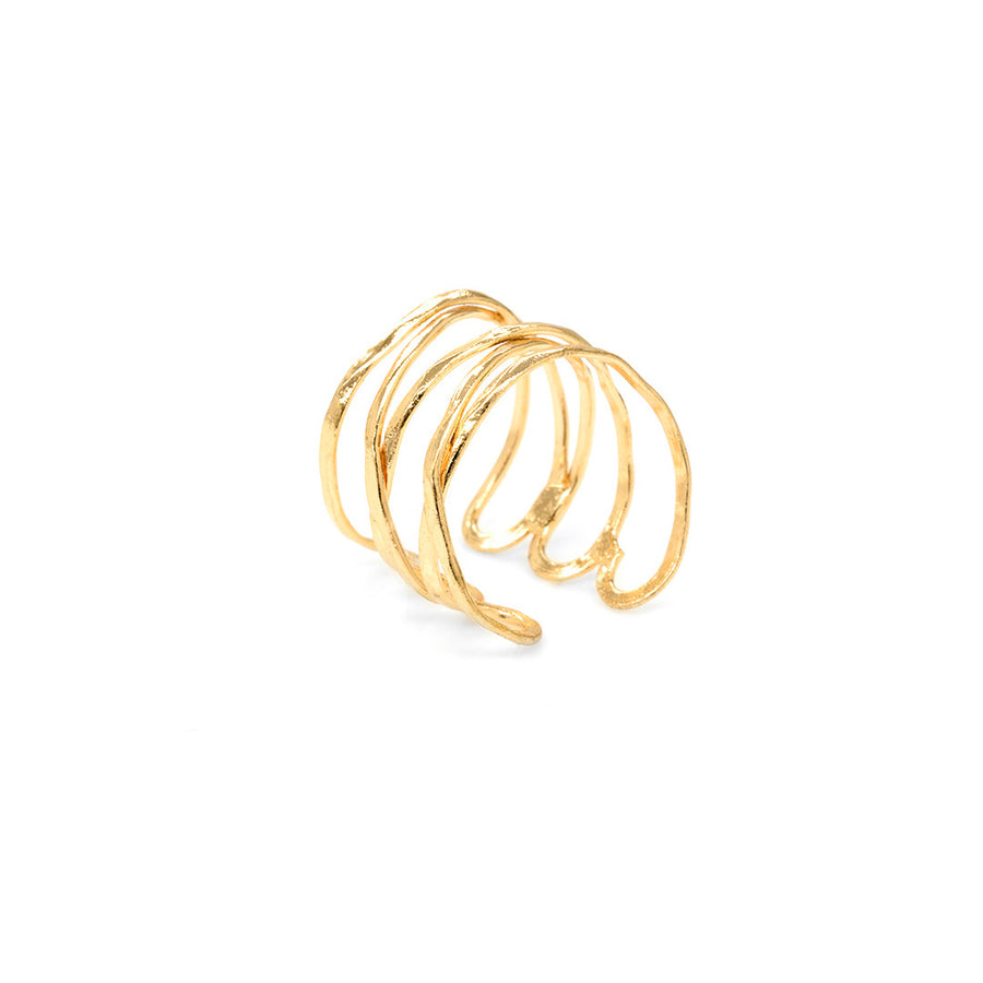 Hammer Brass Cuff Ring Rings - A Gilded Leaf jewelry