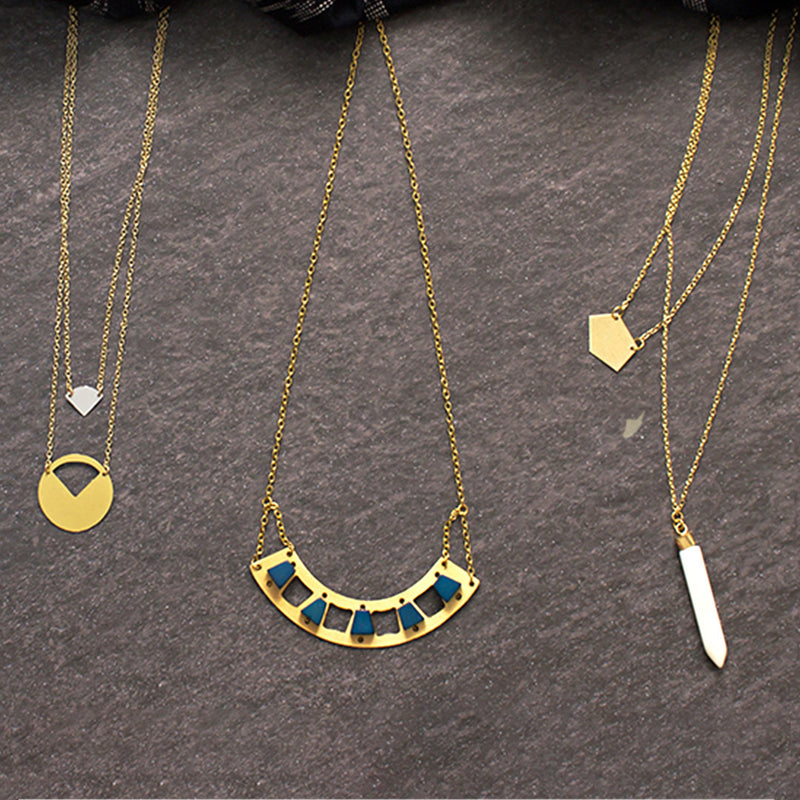 Layered Geometric Bone Necklace Necklace - A Gilded Leaf jewelry
