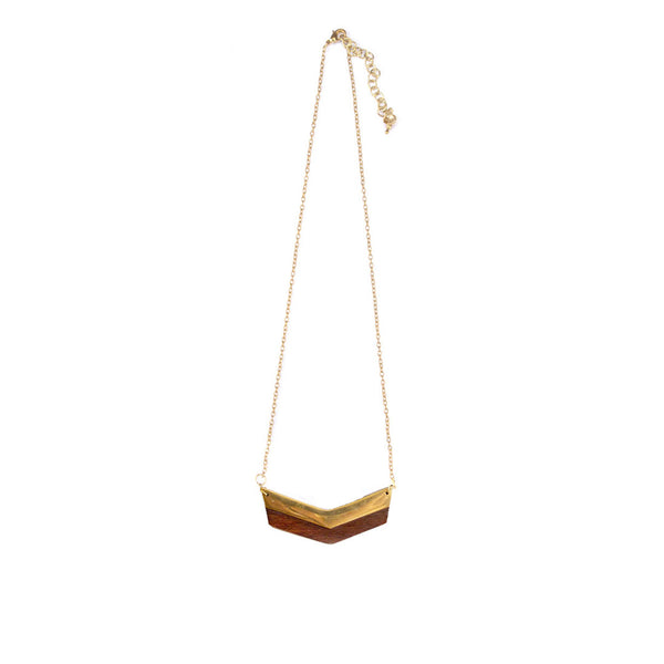 Wood + Gold Chevron Necklace Necklace - A Gilded Leaf jewelry