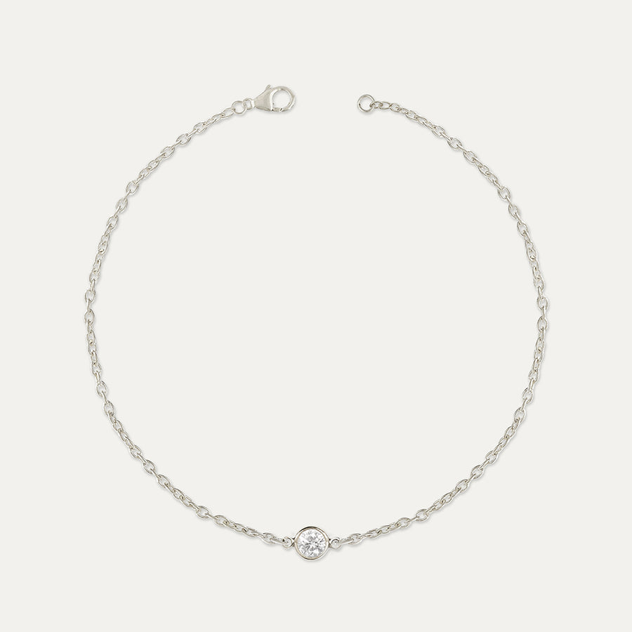 Solitaire Diamond Bezel Bracelet Bracelet - A Gilded Leaf jewelry