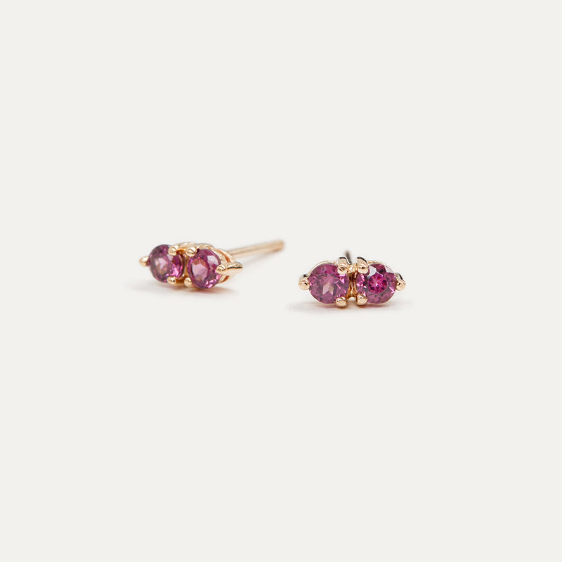 Dualistic Garnet Stud Earrings Earrings - A Gilded Leaf jewelry