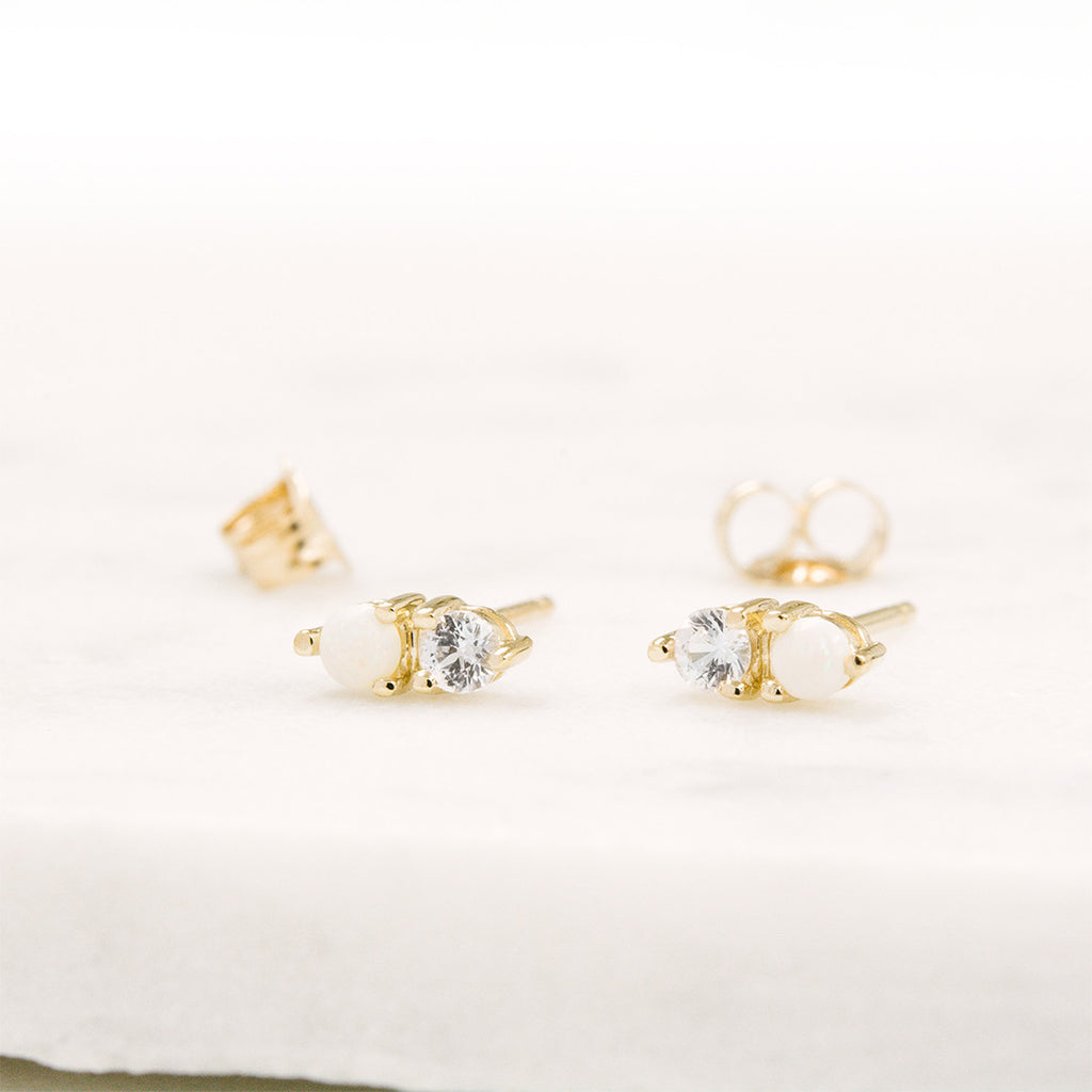 Opal Sapphire Dual Stud Earrings Earrings - A Gilded Leaf jewelry