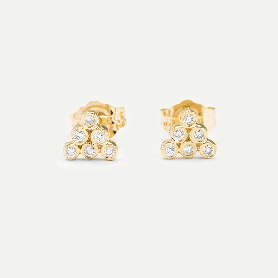 Dainty Pyramid Diamond Bezel Earrings Earrings - A Gilded Leaf jewelry