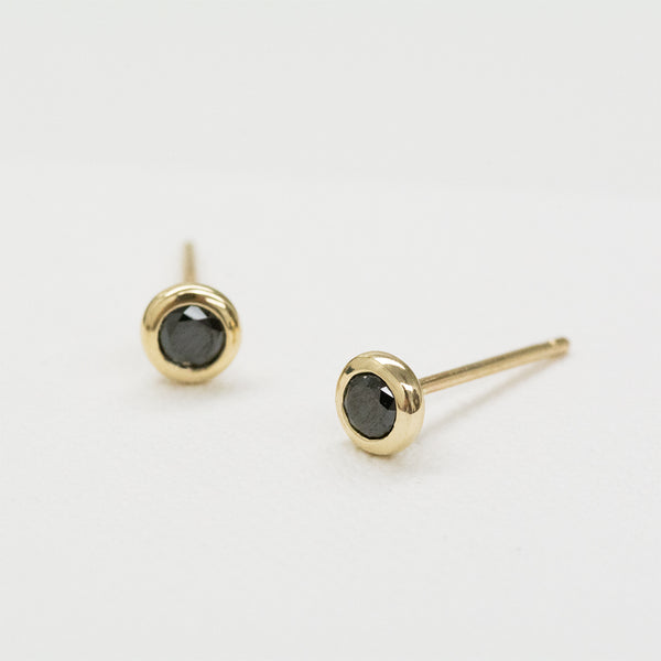 Black Diamond Bezel Earrings Earrings - A Gilded Leaf jewelry