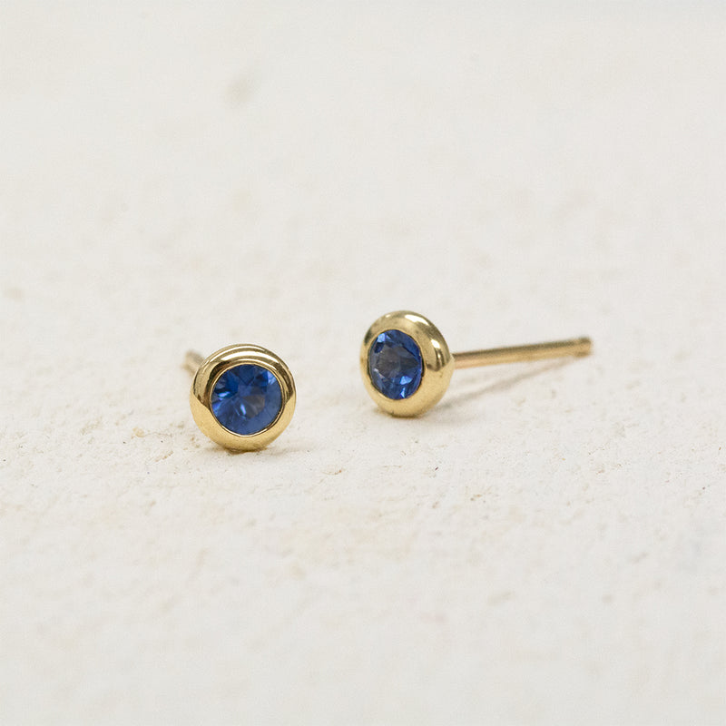 Blue Sapphire Bezel Stud Earrings