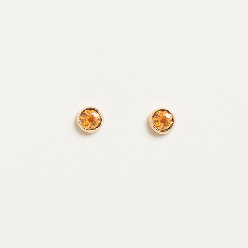 Citrine Bezel Earrings Earrings - A Gilded Leaf jewelry
