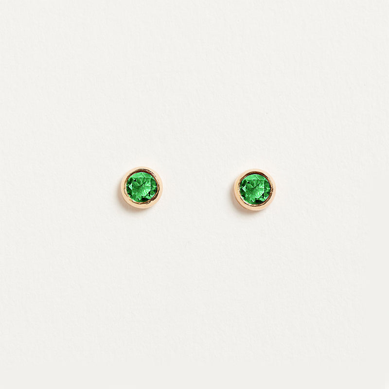 Emerald Bezel Earrings Earrings - A Gilded Leaf jewelry