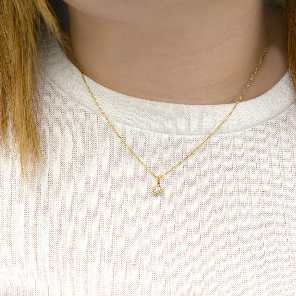 White Sapphire Hexagon Necklace Necklace - A Gilded Leaf jewelry