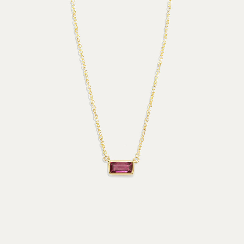 Rhodolite Garnet Bezel Necklace in 14K Yellow Gold One of a Kind - A Gilded Leaf jewelry