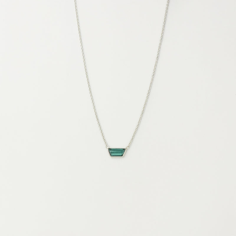 Green Tourmaline Bezel Necklace in 14K White Gold