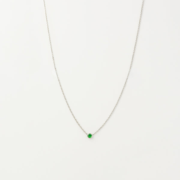 Solitaire Green Garnet Necklace