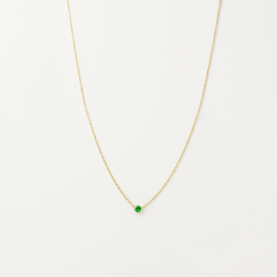 Solitaire Green Garnet Necklace Necklace - A Gilded Leaf jewelry