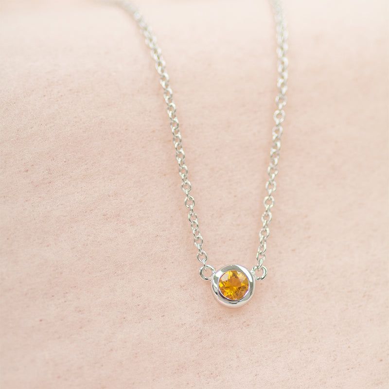 Solitaire Citrine Necklace