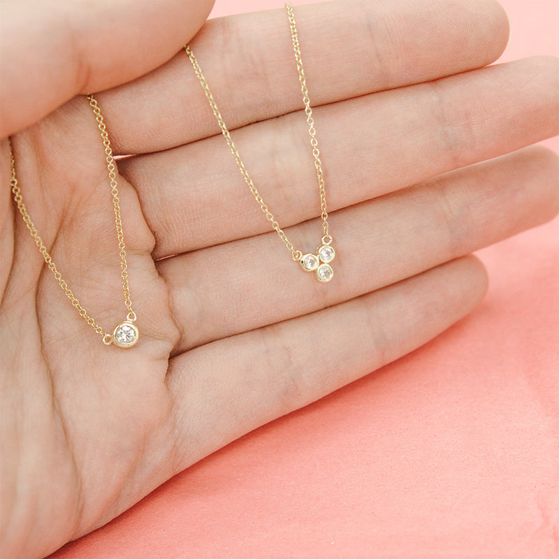 Solitaire Diamond Necklace Necklace - A Gilded Leaf jewelry