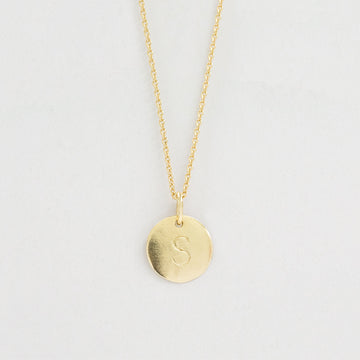 Single Initial Disc Tag Necklace Necklace - A Gilded Leaf jewelry