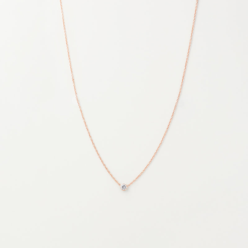 Solitaire White Sapphire Necklace
