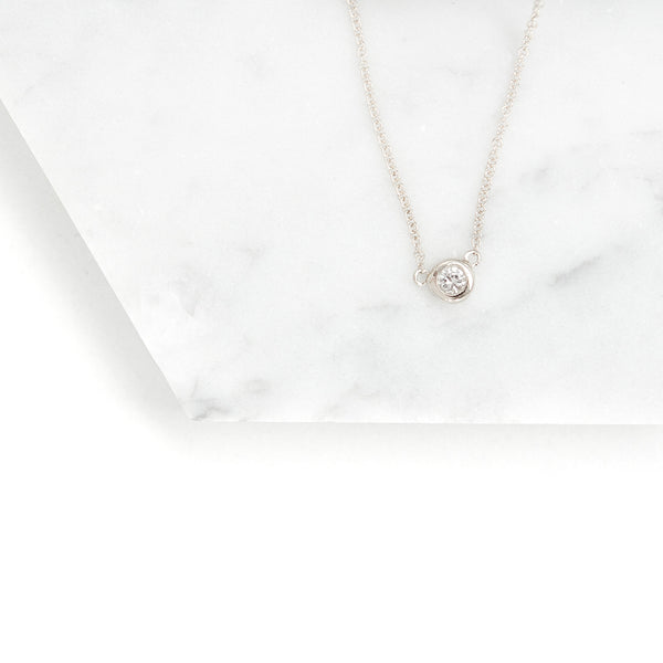 Solitaire White Sapphire Necklace Necklace - A Gilded Leaf jewelry