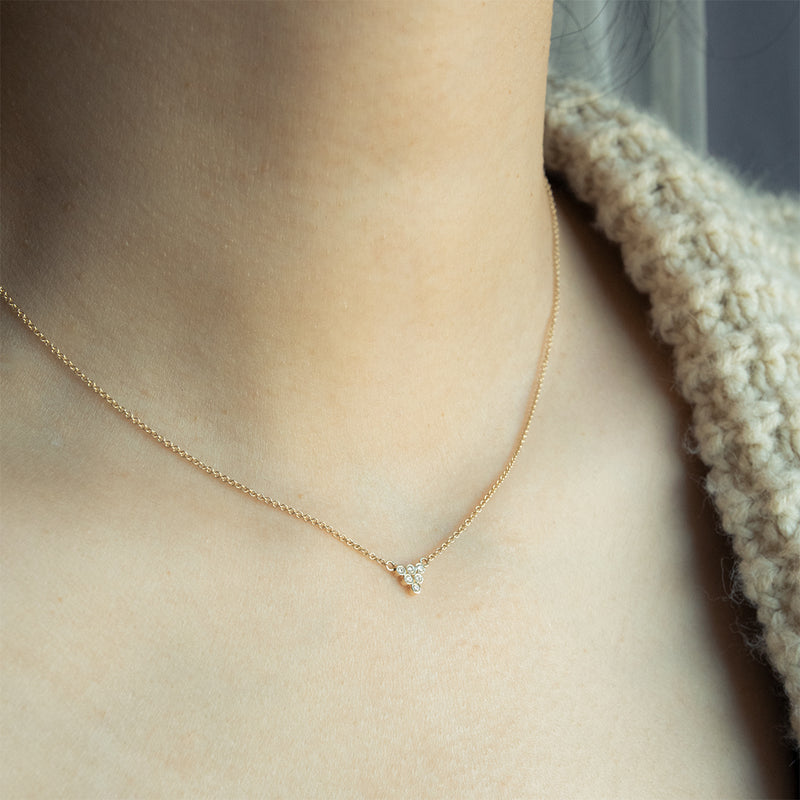 Dainty Diamond Pyramid Bezel Necklace