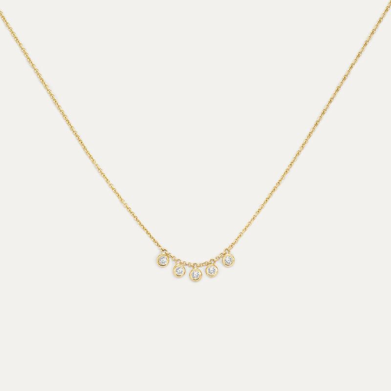 Five Bezel White Sapphire Necklace Necklace - A Gilded Leaf jewelry