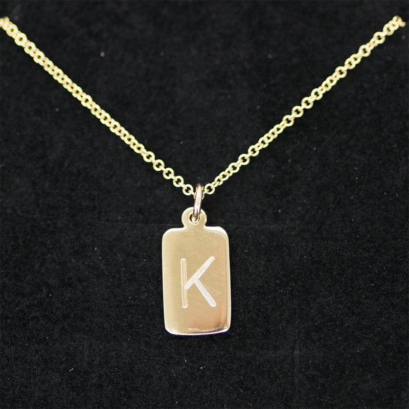 Single Initial Tag Necklace