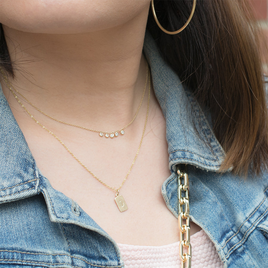 Single Initial Tag Necklace Necklace - A Gilded Leaf jewelry