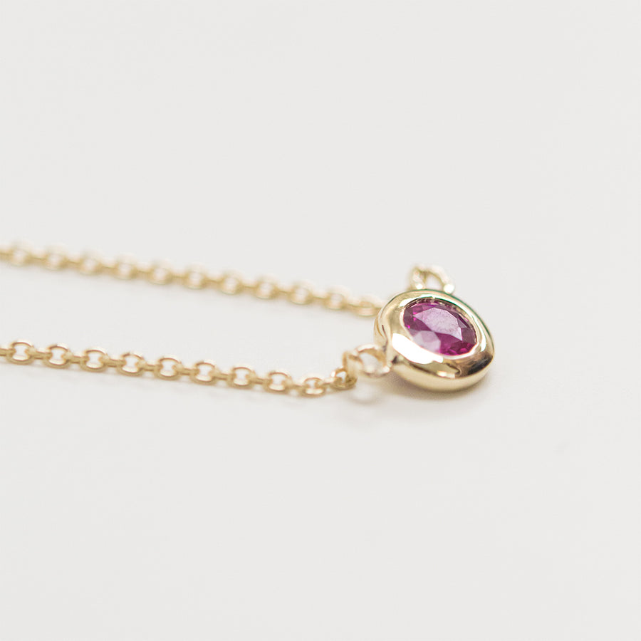 Solitaire Ruby Necklace Necklace - A Gilded Leaf jewelry